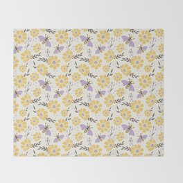 Honey Bees and Flowers - Yellow and Lavender Purple Throw Blanket