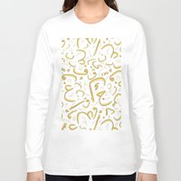 letters Long Sleeve T-shirts featuring Golden Letters by LightCircle