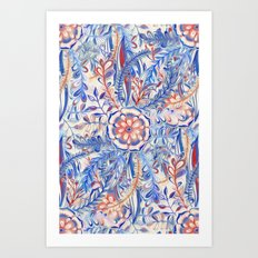 Boho Flower Burst in Red and Blue Art Print