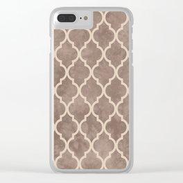 Classic Quatrefoil Lattice Pattern 914 Beige on Beige Clear iPhone Case