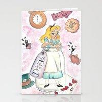 alice in wonderland Stationery Cards featuring Wonderland  by Marilyn Rose Ortega