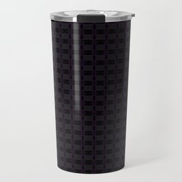 Black Gingham Pattern with Purple Accent Travel Mug
