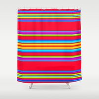 blanket Shower Curtains featuring Guatemalan Blanket by StudioBlueRoom