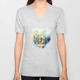 Watercolor Under Sea Collection: Shells in a Bottle Unisex V-Neck