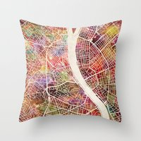 budapest Throw Pillows featuring Budapest  by MapMapMaps.Watercolors