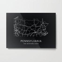 Pennsylvania State Road Map Metal Print