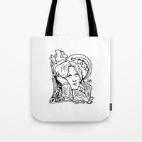 oscar wilde Tote Bags featuring Oscar Wilde by LiseRichardson