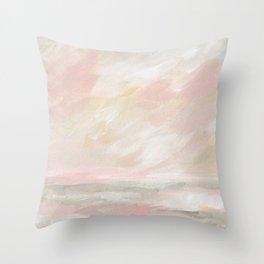 Neutral Pastel Seascape - Winter Ocean Throw Pillow