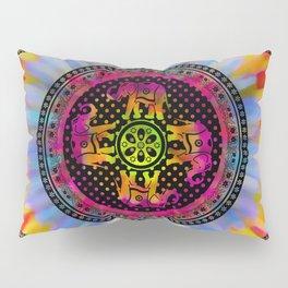 Psychedelic Elephant Mandala Pink Yellow Blue Pillow Sham