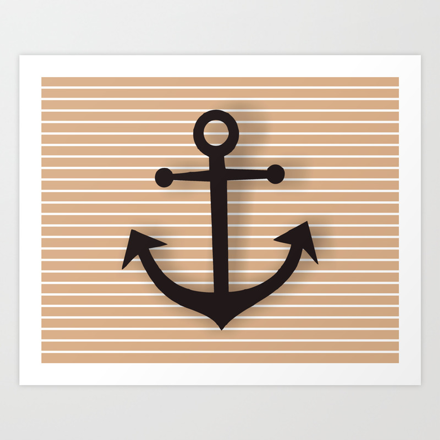 Wall Decor Bathroom Decoration Anchor Poster Brown And Black Sea Theme Ocean Boat Home Decor Art Print By Lubo Society6