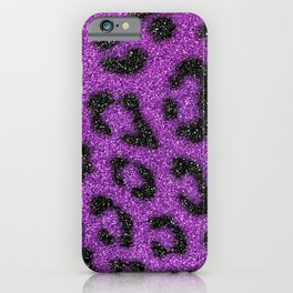 Purple Black Glitter Leopard Animal Print Pattern iPhone Case