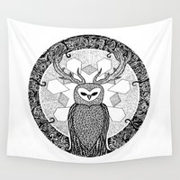 pentagram Wall Tapestries featuring The Watcher by Eurimos
