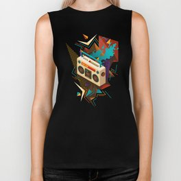 Bust Out The Jams Retro 80s Boombox Splash Biker Tank