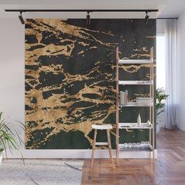 24-Karat Gold Veins on Black Suede Marbled Pattern Wall Mural