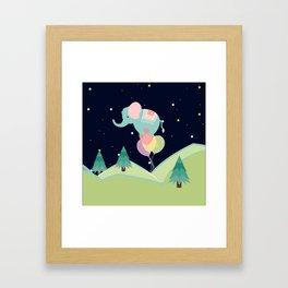 Elephant with Balloons, nursery decor , Framed Art Print