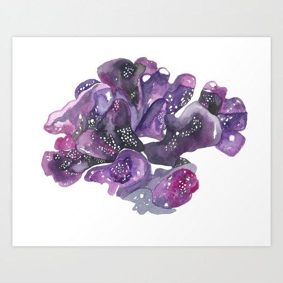 Hawaiian Sea No.3 Purple Coral Watercolor Art Print