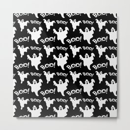Cool black white ghost halloween boo typography Metal Print