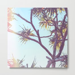 Retro Tropical Palm Tree Metal Print