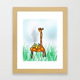 giraffe and the bird Framed Art Print