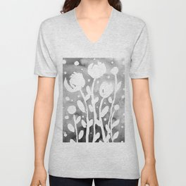 Whimsical watercolor flowers – black and white Unisex V-Neck