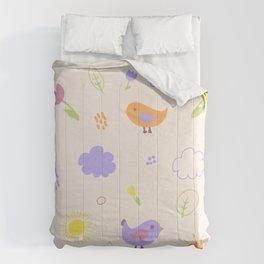 Cute Birds Pattern. Light Version Comforters