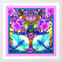 Blue Zinger Dragonflies Violets Abstract Art Print
