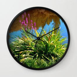 Flowers at the pond Wall Clock