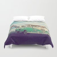 lama Duvet Covers featuring NEVER STOP EXPLORING THE BEACH by Monika Strigel