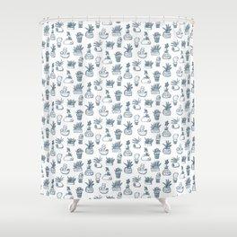 Blue Inky Cacti Shower Curtain