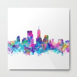 indianapolis city skyline watercolor 4 Metal Print