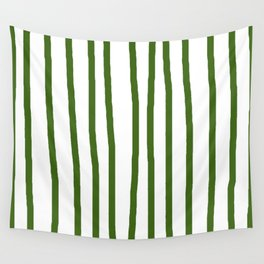 Simply Drawn Vertical Stripes in Jungle Green Wall Tapestry