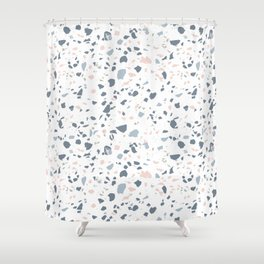 Terrazzo, Light Navy Colorful Floor Texture Shower Curtain