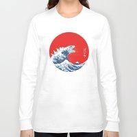 hokusai Long Sleeve T-shirts featuring Hokusai kaiju by Marco Mottura - Mdk7