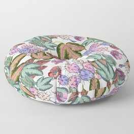 Country pink lavender forest green leaves cactus floral Floor Pillow