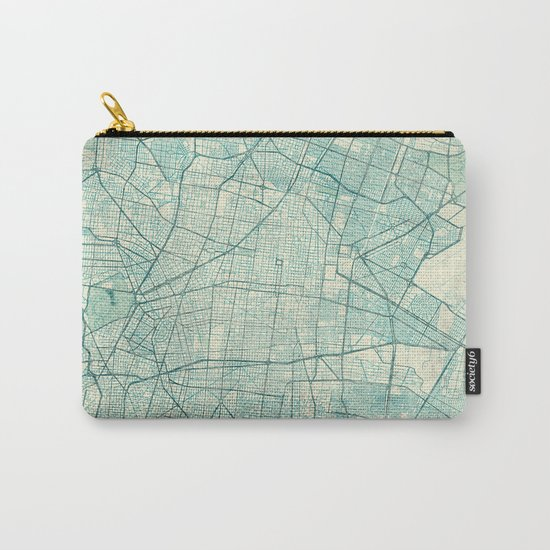Mexico City Map Blue Vintage Carry-All Pouch