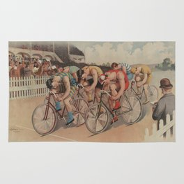 Vintage Cycling Race Illustration (1895) Rug