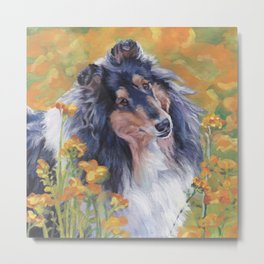 Rough Collie dog art portrait from an original painting by L.A.Shepard Metal Print