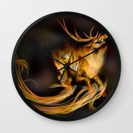 Fire elemental stag Wall Clock