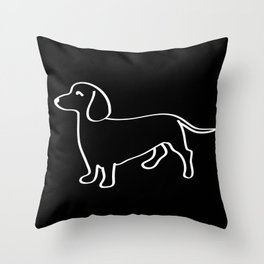 Doxie Love White Throw Pillow