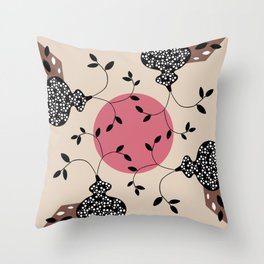 The vase and the moon - nougat brown and dark rose on beige Throw Pillow