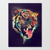 grunge Canvas Prints featuring FEROCIOUS TIGER by dzeri29