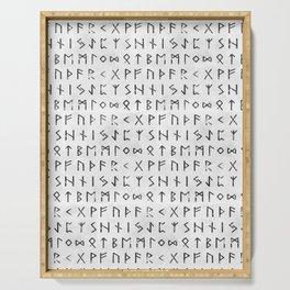 Futhark full runic print (Viking runes) white version Serving Tray