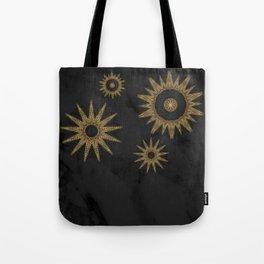 Gold Flower Mandalas over Black Marble Tote Bag
