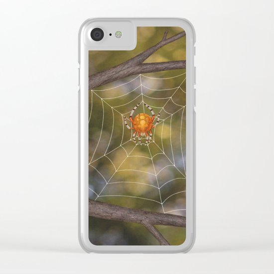 marbled orb weaver on a web Clear iPhone Case