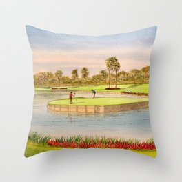 Sawgrass Golf Course 17th Green Putting Out Throw Pillow