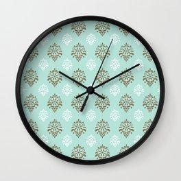 Aqua Mint Damask Pattern Wall Clock