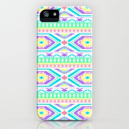 Aztec Geometric Print - Pastel bright colours iPhone Case