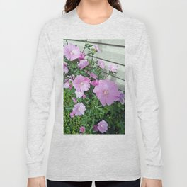 Pink Musk Mallow Bush in Bloom Long Sleeve T-shirt