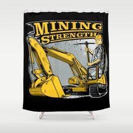 Excavator Mining Shower Curtain