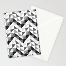 Chevron Facet Black & White Stationery Cards